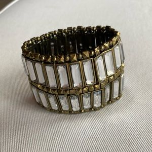 Glass and bronze metal cuff bracelet.